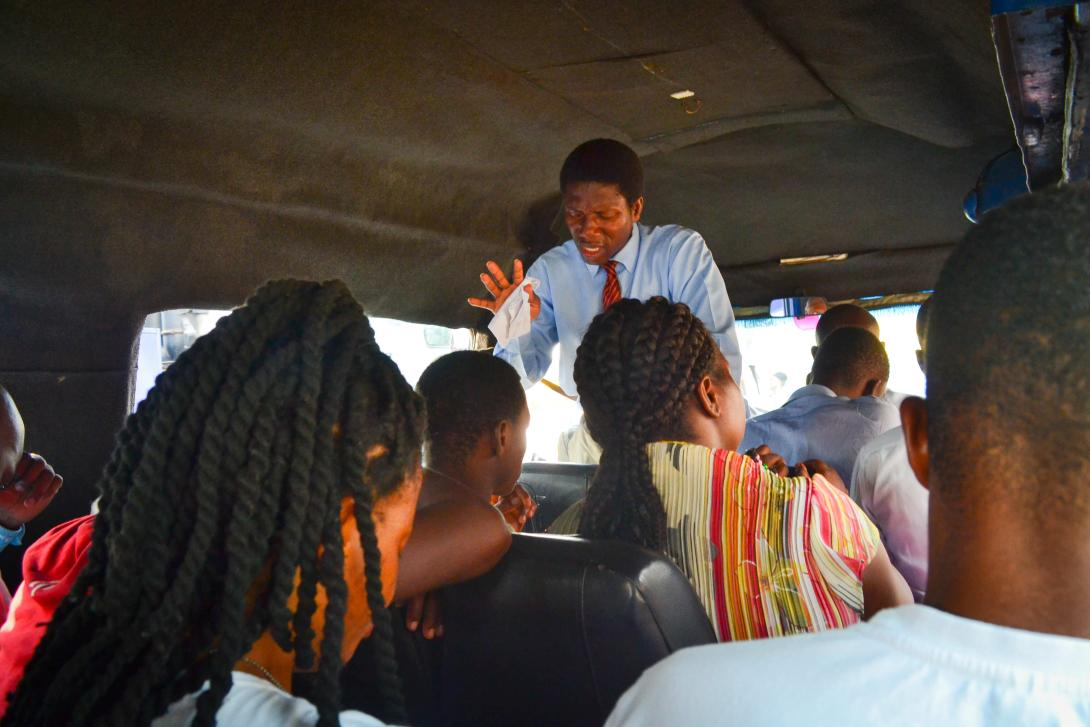 Religious preacher on a bus in Ghana